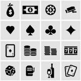 Vector black casino icon set Stock Photos