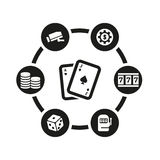 Vector black casino icon set Royalty Free Stock Images