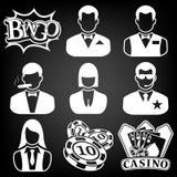 Vector black casino icons set stock illustration