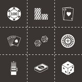Vector black casino icons set. On black background Royalty Free Stock Photo