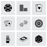 Vector black casino icons set Royalty Free Stock Images