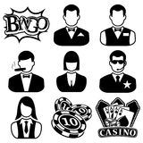 Vector black casino icons set Royalty Free Stock Photos
