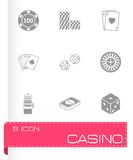 Vector black casino icons set Stock Photo