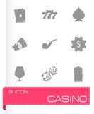 Vector black casino icons set Stock Photography
