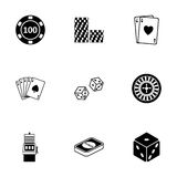 Vector black casino icons set Stock Images