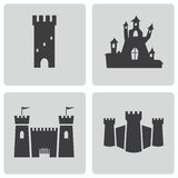 Vector black castle icons set Stock Photography