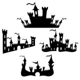 Vector black castle silhouettes set on white Royalty Free Stock Photo