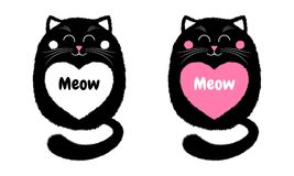 Vector Black Cat in Cartoon Style. 4. Vector Black Cat in Cartoon Style. Funny Illustration of Sitting Black Kitten with Closed Eyes, with White and Pink Heart Royalty Free Stock Photography