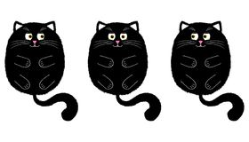 Vector Black Cat in Cartoon Style. 2. Vector Black Cat in Cartoon Style. Funny Illustration of Black Kitten with Orange Eyes, Lying on the Back with Paws and Royalty Free Stock Photography