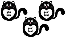 Vector Black Cat in Cartoon Style. 3. Vector Black Cat in Cartoon Style. Funny Illustration of Sitting Black Kitten with White Heart-spot and with Inscription Stock Photography