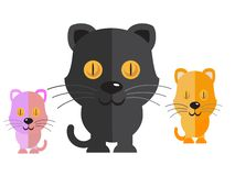 Vector black cat and cute cat on a white background stock illustration
