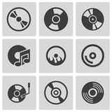Vector black CD disk icons set Stock Photo