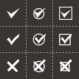 Vector black check marks icon set. On black background Royalty Free Stock Images