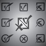 Vector black check marks icons set Royalty Free Stock Photos