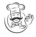 Vector black chef. Icon on white background Royalty Free Stock Images