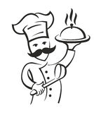 Vector black chef. Icon on white background Stock Image