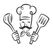 Vector black chef. Icon on white background Royalty Free Stock Photography