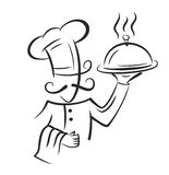 Vector black chef. Icon on white background Royalty Free Stock Photos