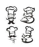 Vector black chef. Icon on white background Stock Photo