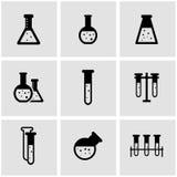 Vector black chemistry icon set Royalty Free Stock Photos