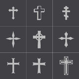 Vector black christia crosses icons set Royalty Free Stock Images
