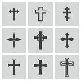 Vector black christian crosses icons set Stock Images