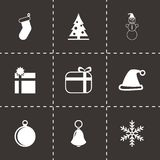 Vector black christmas icon set. On black background Stock Images