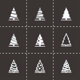 Vector black christmas tree icon set. On black background Stock Photography