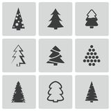 Vector black christmas tree icons set Stock Images