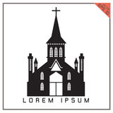 Vector black Church set icon on white background Royalty Free Stock Images