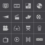 Vector black cinema icon set Royalty Free Stock Photography