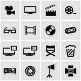 Vector black cinema icon set Stock Photography