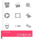 Vector black cinema icon set Stock Photo