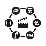 Vector black cinema icon set Stock Image