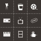 Vector black cinema icons set. On black background Stock Photo