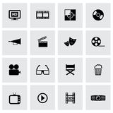 Vector black cinema icons set Royalty Free Stock Images