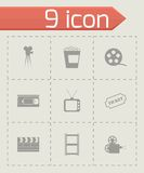 Vector black cinema icons set Stock Photos