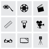 Vector black cinema icons set Stock Images