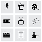 Vector black cinema icons set Royalty Free Stock Image