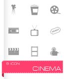 Vector black cinema icons set Royalty Free Stock Photos