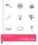 Vector black cinema icons set Stock Photo