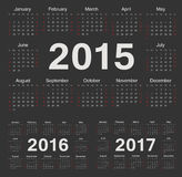 Vector black circle calendars 2015, 2016, 2017. Week starts from Sunday Royalty Free Stock Images