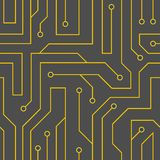 Vector black circuit board background. Vector flat style black circuit board background. Electrical scheme seamless pattern Royalty Free Stock Photos