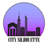 Vector black cities silhouette. City  icon web,  flat, Design Royalty Free Stock Photography