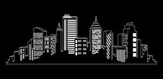 Vector black cities silhouette icon set on black. Night city lights royalty free illustration