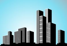Vector black city silhouette. Background with buildings. City scene. Big skyscrapers panorama. Illustration vector illustration
