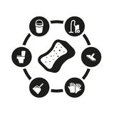 Vector black cleaning icon set Stock Image