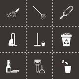 Vector black cleaning icons set. On black background Royalty Free Stock Photos