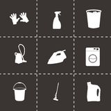 Vector black cleaning icons set Stock Image