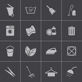 Vector black  cleaning icons set Stock Photos
